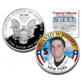 DAVID WRIGHT 2006 American Silver Eagle Dollar 1 oz US Colorized Coin NY METS - Officially Licensed