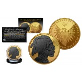 INDIAN HEAD SKULL 1 oz Copper Medallion Coin 24K GOLD GILDED with Black Ruthenium Skull Head - Snakes of America