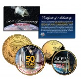 MAN IN SPACE - 50th Anniversary - Florida Quarter & JFK Half Dollar US 2-Coin Set 24K Gold Plated