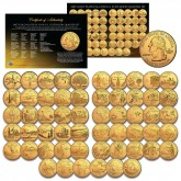 COMPLETE SET of ALL 56 Statehood State U.S. Quarters Coins (1999 to 2009) * 24K GOLD PLATED * $99