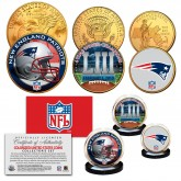 SUPER BOWL 53 NFL CHAMPIONS New England Patriots 3-Coin 24K Gold Plated U.S. Set - Pats Team Logo