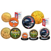 50th ANNIVERSARY SUPER BOWL Officially Licensed U.S Colorized & 24KT Gold Plated 3-Coin Set - DENVER BRONCOS