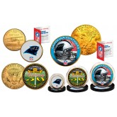 50th ANNIVERSARY SUPER BOWL Officially Licensed U.S Colorized & 24KT Gold Plated 3-Coin Set - CAROLINA PANTHERS