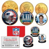 SUPER BOWL 53 NFL CHAMPIONS New England Patriots 3-Coin 24K Gold Plated U.S. Set - TOM BRADY