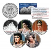 ELIZABETH TAYLOR - MOVIES - Colorized JFK Kennedy Half Dollar U.S. 5-Coin Set