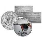 THOMPSON SUBMACHINE GUN Firearm JFK Kennedy Half Dollar US Colorized Coin