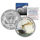 RMS Titanic Ship - 100th Anniversary - JFK Kennedy Half Dollar US Colorized Coin