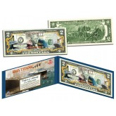 RMS TITANIC Ship - 100th Anniversary - Colorized US $2 Bill Genuine Legal Tender