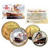 TITANIC - 100th Anniversary - New York Quarter & JFK Half Dollar U.S. 2-Coin Set 24K Gold Plated
