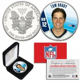 TOM BRADY New England Patriots FIELD NFL 1 oz PURE SILVER AMERICAN U.S. EAGLE in Deluxe Black Felt Coin Display Gift Box