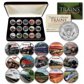 TRAINS JFK Half Dollar U.S 15-Coin Complete Set with Premium Deluxe Display BOX