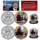 Donald Trump Oval Office Meeting with KANYE WEST & KIM KARDASHIAN JFK Half Dollar 2-Coin Set