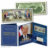 President DONALD TRUMP & VP MIKE PENCE OFFICIAL PORTRAITS Genuine U.S. $2 Bill with 8x10 Photo in Large Collectors Folio Display