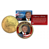 Donald Trump 45th President of the United States Official Colorized 24K Gold Plated Washington DC Quarter - add and update your President Set with this coin