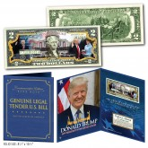 DONALD TRUMP 45th Presidential INAUGURATION January 20, 2017 Genuine U.S. $2 Bill with 8x10 Photo in Large Collectors Folio Display
