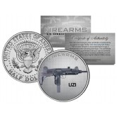 UZI Gun Firearm JFK Kennedy Half Dollar US Colorized Coin