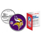 MINNESOTA VIKINGS NFL Minnesota US Statehood Quarter Colorized Coin  - Officially Licensed
