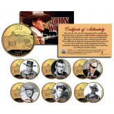 JOHN WAYNE MOVIES Colorized Iowa 24K Gold Plated Quarters US 6-Coin Set - Stagecoach - Officially Licensed
