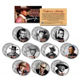 JOHN WAYNE - MOVIES - Colorized JFK Kennedy Half Dollar U.S. 10-Coin Set - Officially Licensed