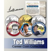 Baseball Legend TED WILLIAMS Massachusetts Statehood Quarters US Colorized 3-Coin Set - Officially Licensed