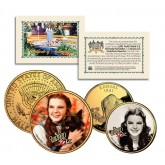 Wizard of Oz JUDY GARLAND Kansas Quarter & JFK Half Dollar 2-Coin Set 24K Gold Plated - Officially Licensed