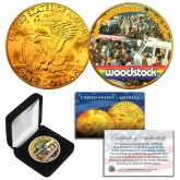 WOODSTOCK 50th Anniversary 1969-2019 Genuine 24KT Gold Plated  Eisenhower IKE Dollar U.S. Coin with Display Box