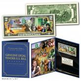 WIZARD OF OZ Original Genuine Legal Tender U.S. $2 Bill in Large Collectors Folio Display