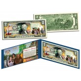 WIZARD OF OZ - Dorothy Ruby Red Slippers - Genuine Legal Tender US $2 Bill - Officially Licensed