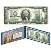 WORLD TRADE CENTER - Never Forget - 9/11 WTC Colorized U.S. $2 Bill - WTC Green Issue Bill