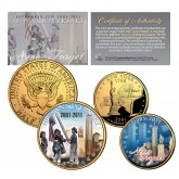 WORLD TRADE CENTER 10th Anniversary 9/11 NY Quarter & JFK Half Dollar 2-Coin Set 24K Gold Plated