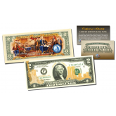 Official 9/11 WTC DECLARATION of INDEPENDENCE Duo Gold Leaf Front & Colorized Back Genuine Legal Tender U.S. $2 Bill 2-SIDED (DOI)