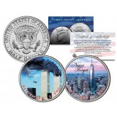WORLD TRADE CENTER 9/11 Colorized JFK Half Dollar U.S. 2-Coin Set NEVER FORGET WTC