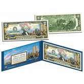 WORLD TRADE CENTER 9/11 Skyline COLORIZED Legal Tender $2 U.S. Bill - NEVER FORGET