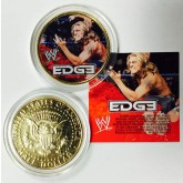 WWE Wrestling EDGE Colorized JFK Kennedy Half Dollar 24K Gold Plated U.S. Coin WWF - Officially Licensed