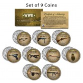 WORLD WAR II INFANTRY WEAPONS JFK Kennedy Half Dollar U.S. 9-Coin Complete Set
