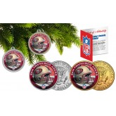 SAN FRANCISCO 49ERS Colorized JFK Half Dollar US 2-Coin Set NFL Christmas Tree Ornaments - Officially Licensed