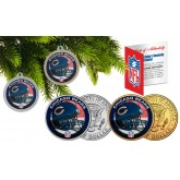 CHICAGO BEARS Colorized JFK Half Dollar US 2-Coin Set NFL Christmas Tree Ornaments - Officially Licensed