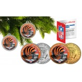 CINCINNATI BENGALS Colorized JFK Half Dollar US 2-Coin Set NFL Christmas Tree Ornaments - Officially Licensed