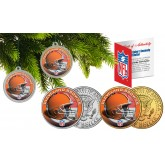CLEVELAND BROWNS Colorized JFK Half Dollar US 2-Coin Set NFL Christmas Tree Ornaments - Officially Licensed