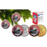 TAMPA BAY BUCANEERS Colorized JFK Half Dollar US 2-Coin Set NFL Christmas Tree Ornaments - Officially Licensed