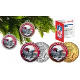 ARIZONA CARDINALS Colorized JFK Half Dollar US 2-Coin Set NFL Christmas Tree Ornaments - Officially Licensed