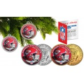 KANSAS CITY CHIEFS Colorized JFK Half Dollar US 2-Coin Set NFL Christmas Tree Ornaments - Officially Licensed
