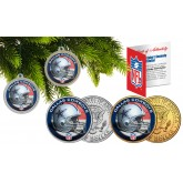 DALLAS COWBOYS Colorized JFK Half Dollar US 2-Coin Set NFL Christmas Tree Ornaments - Officially Licensed