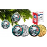 MIAMI DOLPHINS Colorized JFK Half Dollar US 2-Coin Set NFL Christmas Tree Ornaments - Officially Licensed