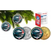 PHILADELPHIA EAGLES Colorized JFK Half Dollar US 2-Coin Set NFL Christmas Tree Ornaments - Officially Licensed