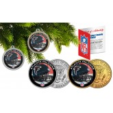 ATLANTA FALCONS Colorized JFK Half Dollar US 2-Coin Set NFL Christmas Tree Ornaments - Officially Licensed