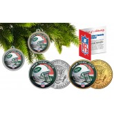 NEW YORK JETS Colorized JFK Half Dollar US 2-Coin Set NFL Christmas Tree Ornaments - Officially Licensed