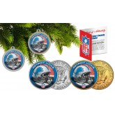 DETROIT LIONS Colorized JFK Half Dollar US 2-Coin Set NFL Christmas Tree Ornaments - Officially Licensed