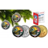 GREEN BAY PACKERS Colorized JFK Half Dollar US 2-Coin Set NFL Christmas Tree Ornaments - Officially Licensed