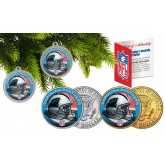 CAROLINA PANTHERS Colorized JFK Half Dollar US 2-Coin Set NFL Christmas Tree Ornaments - Officially Licensed